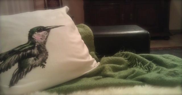 Zierkissen mit Textilfarbe bemalt